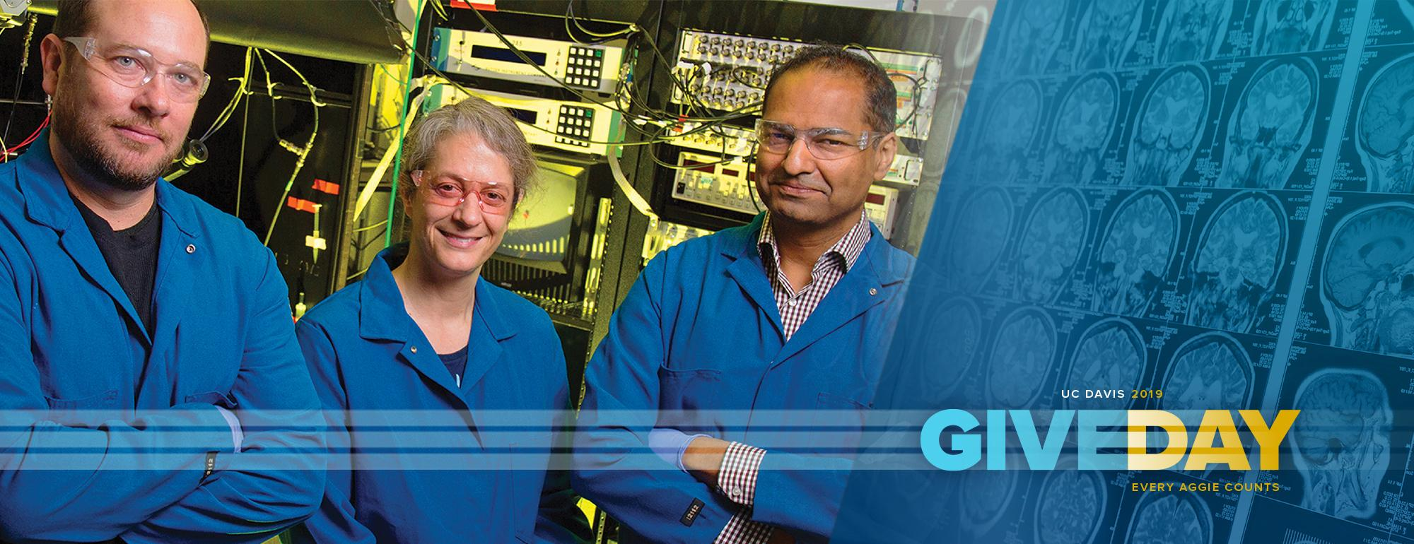 CNS Give Day Header Logo with 3 CNS faculty: Brian Wiltgen, Karen Zito, and Charan Ranganath