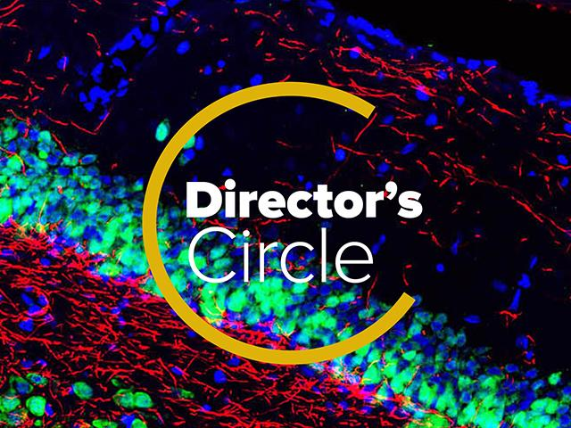 Marketing logo for Director's Circle with link to giving